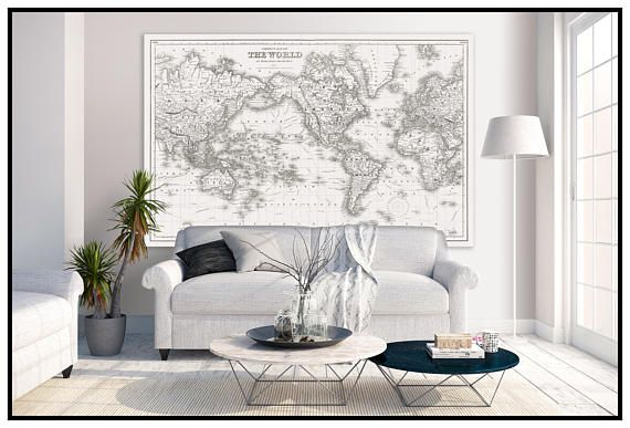 Large Vintage World Map. World Map in Antique Whites. World Map Grand Canvas Wall Tapestry. ----------------------------------------------   ******40h x 60w to 6ft x 10ft in size ******   This is a very uniqe map from mid 1800s and it shows the world and the principle sailing routes. It was created as a case map (to fit inside a book/slip case) and has the cotton lines in the map. This style of map was considered the most detailed world map of it time will all major port and known cities...