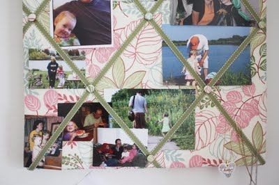 French memo board.  Batting, ribbon, fabric, buttons, board or canvas, staples.