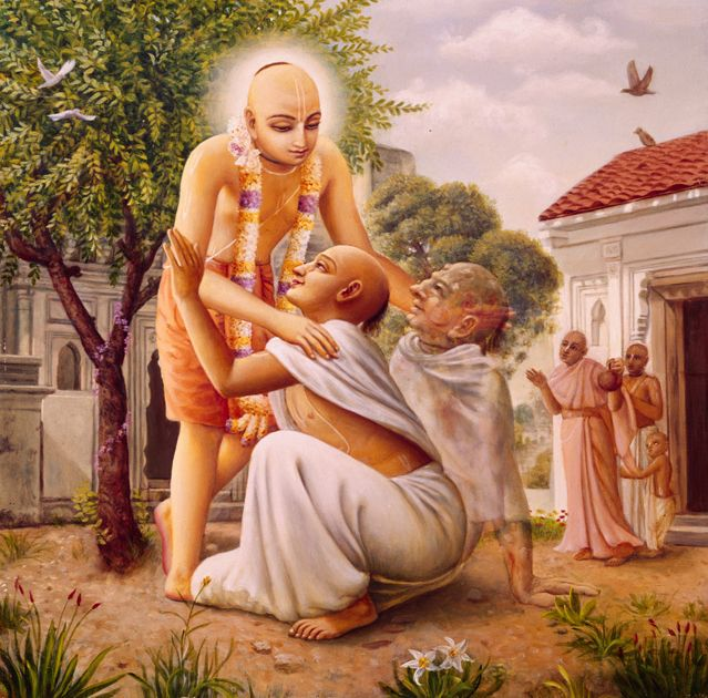 Lord Chaitanya embracing and healing the leper Vasudeva. http://vedabase.net/cc/madhya/7/140/en