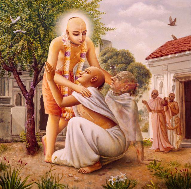 Lord Chaitanya embracing and healing the leper Vasudeva. http://vedabase.net/cc/madhya/7/140/en