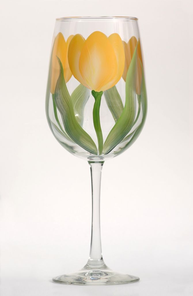 Yellow Tulips hand-painted wine glass – http://www.wineflowersglass.com/collections/wineglasses/products/yellow-tulips $19.95