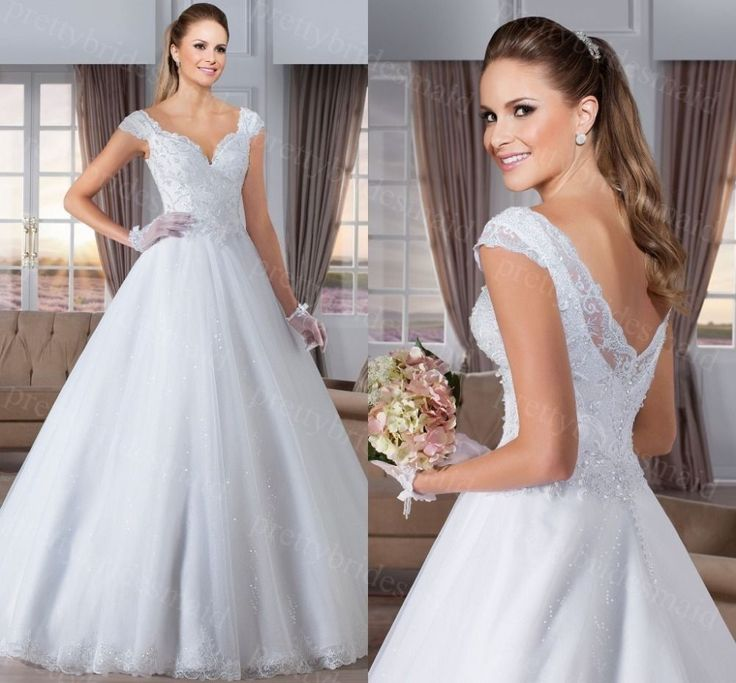 Shining V-Neck Ball Gown Backless Wedding dress 2017 Bride dresses bridal gown
