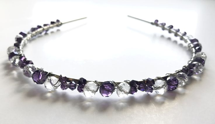 Purple and clear crystals handmade headband