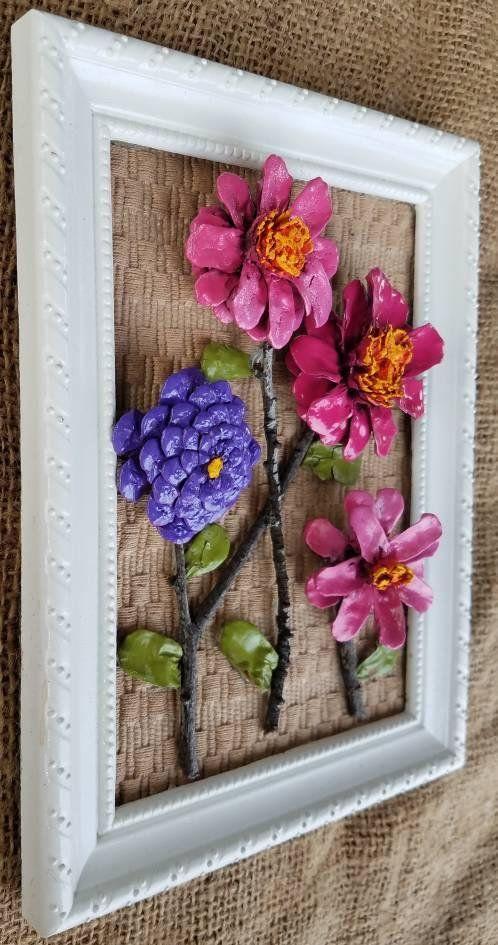 Framed Pinecone Flowers