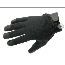 Lightweight gloves (also for hotter environments). The elastic nylon backing adds to the comfort and fit while wearing the gloves, while the leather at palms and fingertipps provides stabillity and protection.  The nylon fabric is of quick drying material, together with the short sleeve cut, closed with velcro, so it stays comfortable without restraining movement and agility.