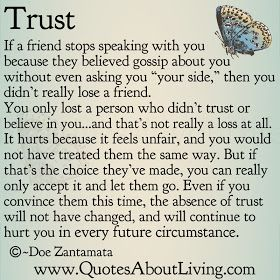 Quotes About Living - Doe Zantamata: Trust and Gossip