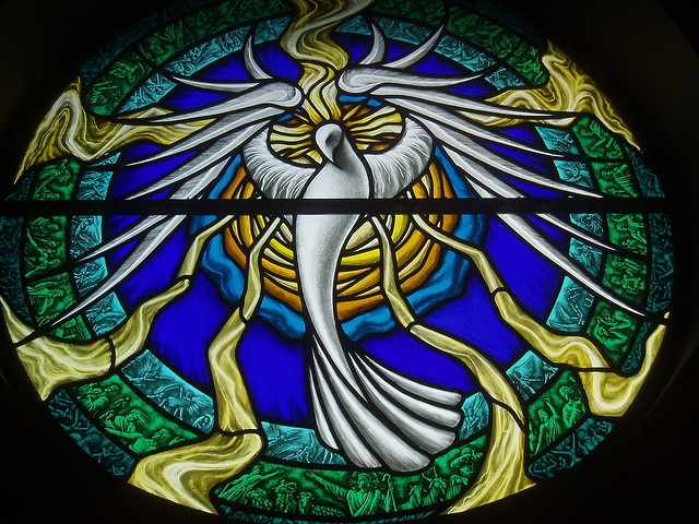 Holy Spirit in stained glass,  Denver