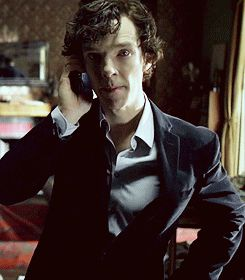 This new dance move is all the rage on Baker Street. Sherlock on phone gif