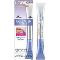 Loreal Collagen Filler Lip Plumper Treatment by Loreal. $5.55. Lip line filling & lip plumping. Collagen is the essential natural protein that keeps skin smooth and looking youthful. But as we age collagen deteriorates plus skin starts to lose its moisture: Skin surfaces become uneven, skin loses its cushion and wrinkles are formed. Natural collagen is extracted and purified with a process that preserves all of its hydrating qualities. Now, Collagen Moisture Filler with po...