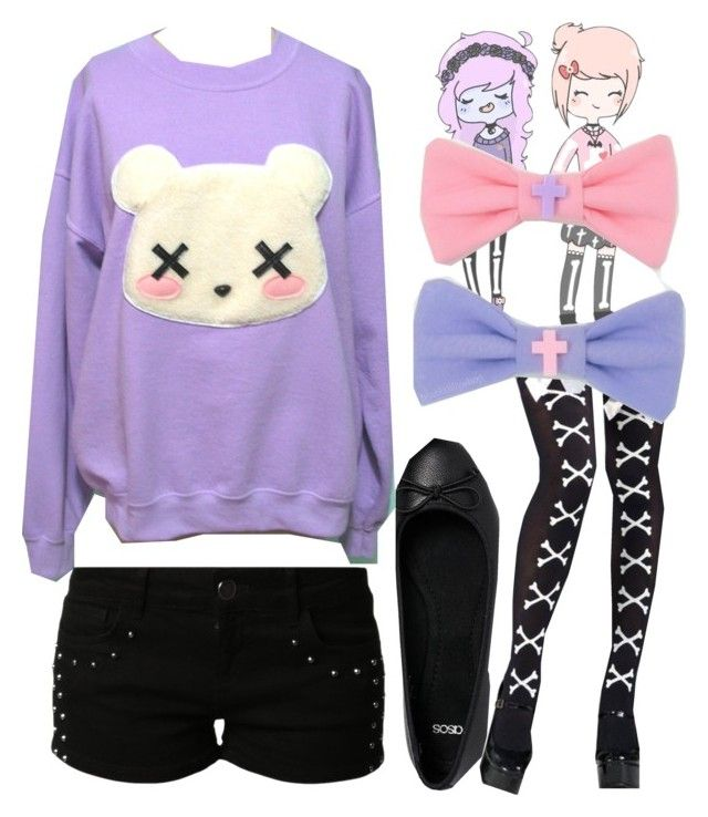 """""""pastel goth ootd"""" by hevsyblue2 ❤ liked on Polyvore featuring even&odd and ASOS"""