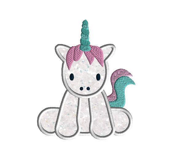 Baby Unicorn Applique Machine Embroidery Design-INSTAND DOWNLOAD