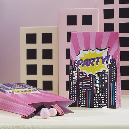 Partypåsar - Pop Art Superhero Pink