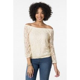 Ivory lace peasant top