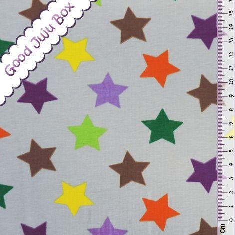 Tissus étoiles, Jersey - Lollipop Stars - Multi / Gris est une création orginale de Good-Juju-Box sur DaWanda