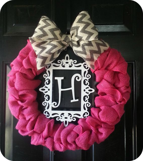 D.I.Y Valentine wreath. Pink burlap wreath. Monogram wreath. Chevron bow.