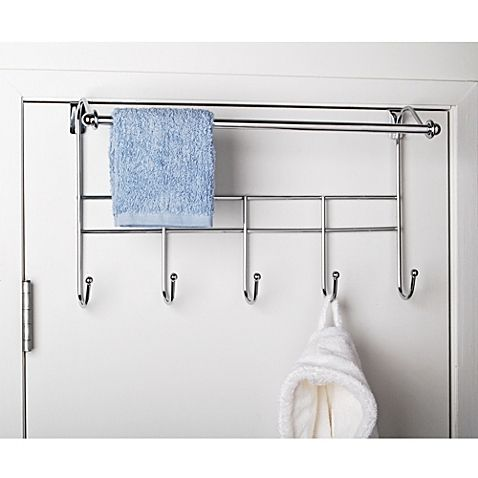 Conveniently hang your robes and towels on this Over-the-Door Towel Rack with Hooks. With its stylish chrome finish, this rack is attractively designed and easily fits over your bedroom, bathroom or closet door.