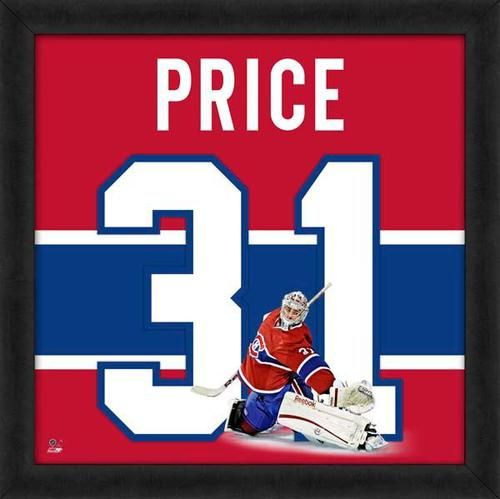 Featured is a Carey Price framed Montreal Canadiens jersey photo. This photo has been professionally framed and is approximately 20x20. **Note: This photo is not signed.**