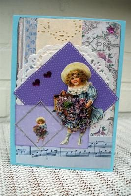 Vintage girl: My first card is very vintage like.  A 3D picture matted on some layers.  My second card is one I don't usually use that colour scheme, but for this fun