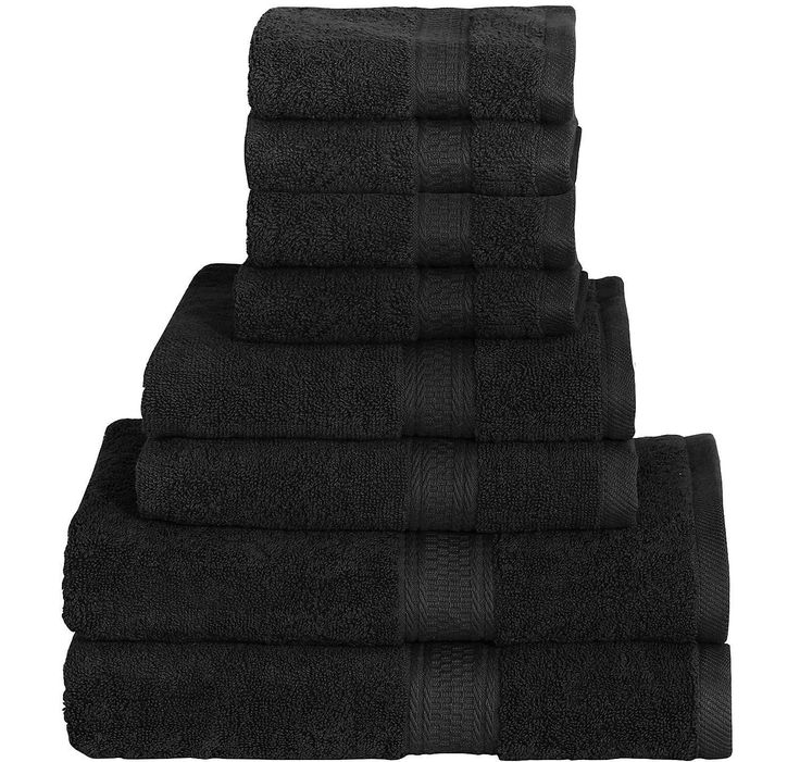 8 Piece Towel Set (Black); 2 Bath Towels, 2 Hand Towels & 4 Washcloths - 100% Cotton By Utopia Towels