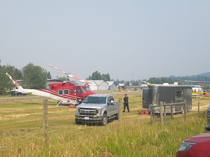 Helicopters/ fire fighting crews  in 100 mile house fighting Gustafson wildfire ,B.C.wildfires 2017