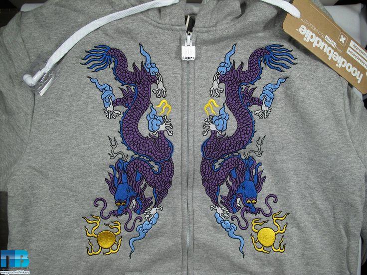 Машинная вышивка драконов на толстовке #embroidery #dragon