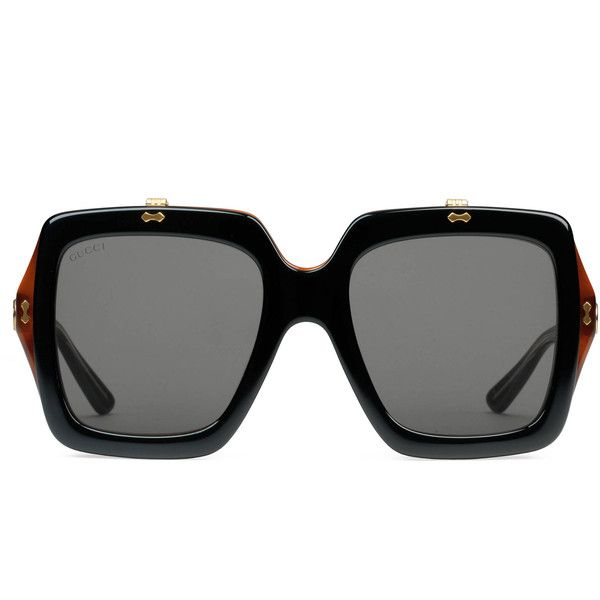 Gucci Oversize Square-Frame Acetate Sunglasses (14.475 ARS) ❤ liked on Polyvore featuring accessories, eyewear, sunglasses, glasses, gucci, black, square frame sunglasses, oversized glasses, gucci sunglasses and tortoise sunglasses