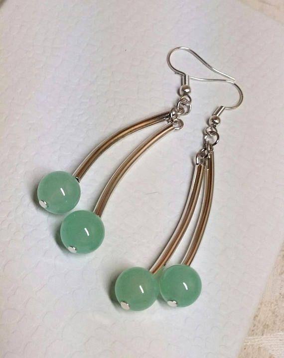 Jade dangling earrings  Earrings with Tibetan Silver tubes