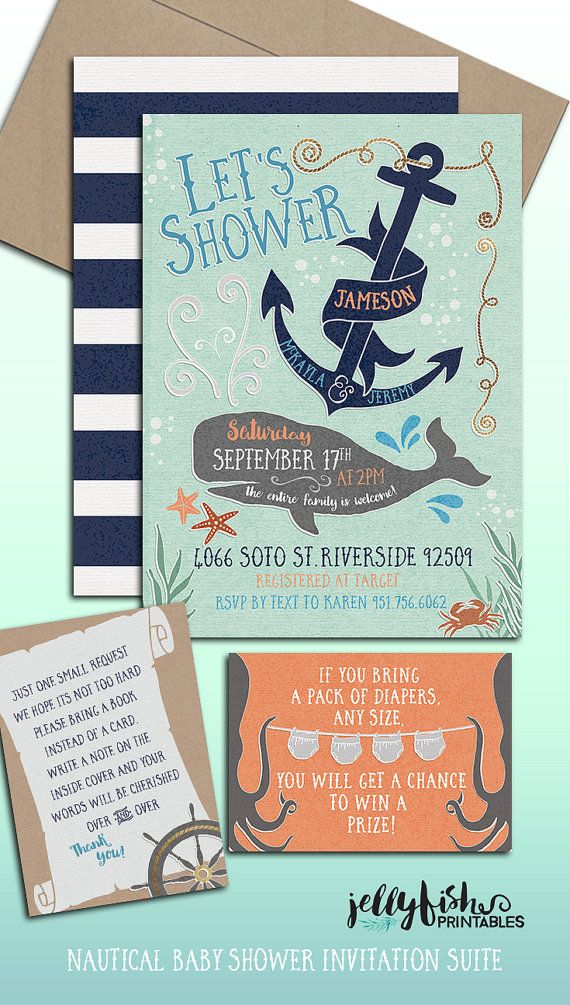 Nautical Themed Baby Shower Invitations Part - 44: Ocean Nautical Themed Baby Shower Invitation Suite For Couples