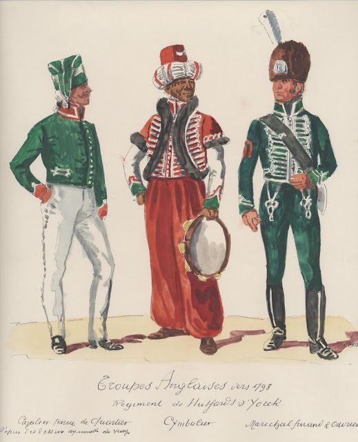Troupes Anglaises ; vers 1798 . Regiment de Hussards o'York . captaine tenue de quartier,  cymbalier,  marechal de Finance a courier.