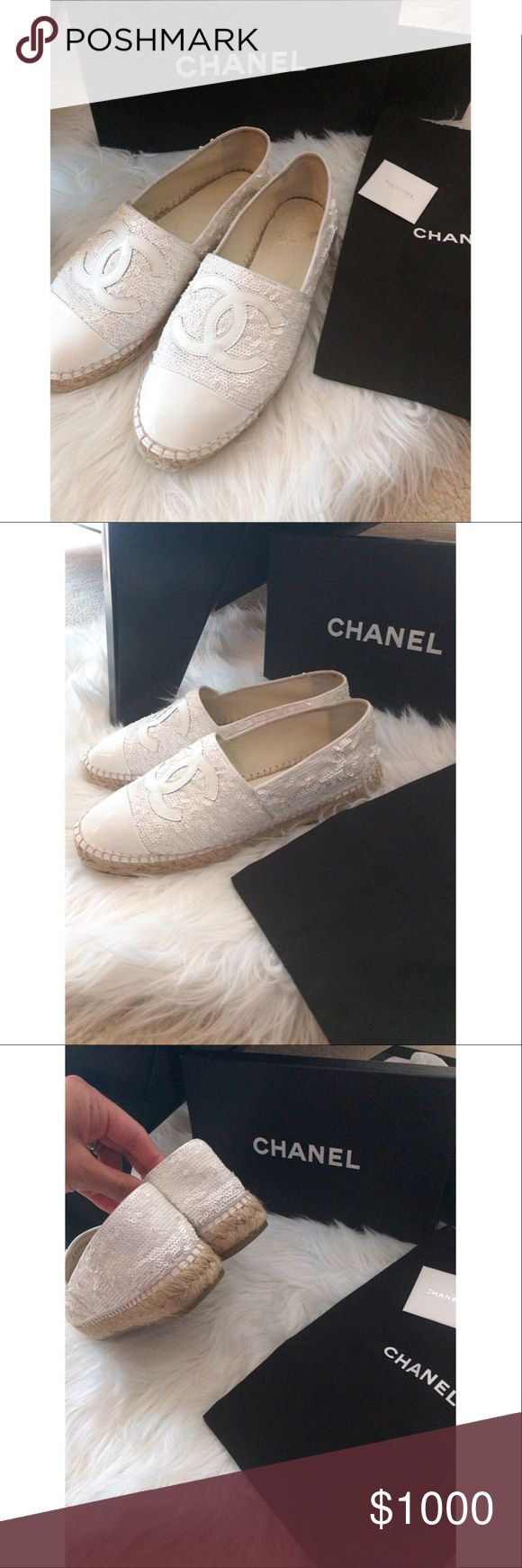 Authentic Chanel White Sequin Espadrilles Authentic Chanel White Sequin Espadrilles, Worn only a handful of time, no scuffs, no scratches. In prestige amazing condition. These shoes are so beautiful and need a great home. Shoes come with original box, dust bag, and the Chanel care instructions book. Size 8, size 38 as stated on the box. These are limited shoes and rarely seen. This purchase will also be authenticated by Poshmark as their concierge service. Offers welcome. CHANEL Shoes…