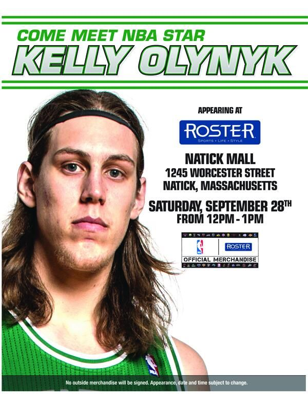 Stop by the ROSTER store at the @Natick Mall on September 28th from 12 to 1 PM to meet NBA Star Kelly Olynyk!