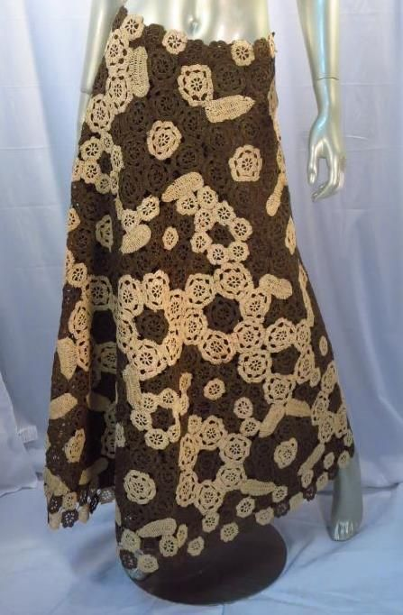 Vintage Anna Giovannozzi Italy Crochet Raffia Beige Brown Maxi Skirt *