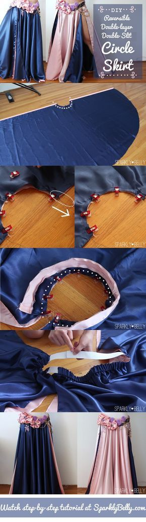 DIY circle skirt - reversible, double-layer, double-slit
