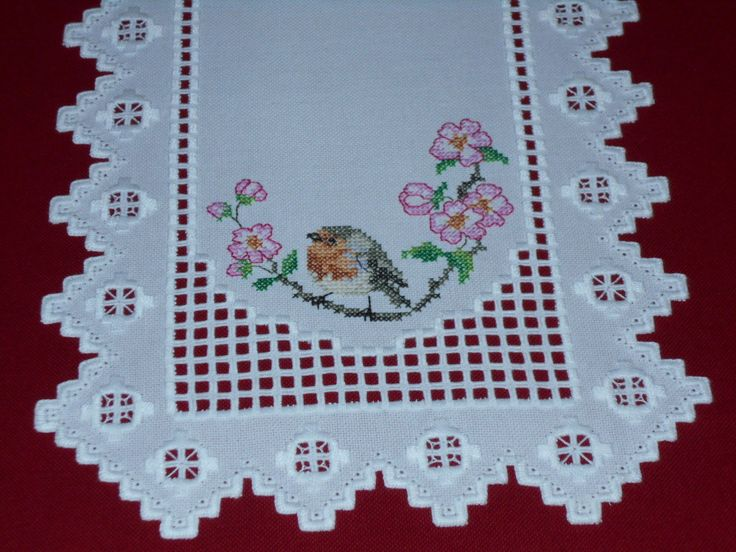 Beautiful Hardanger Cross Stitch Table Runner w Robins and Pink Flowers | eBay