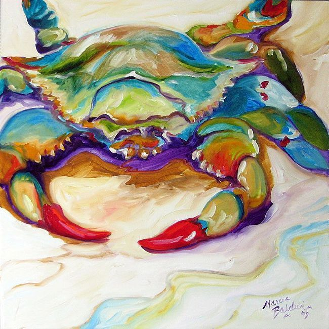 Blue crab painting Marcia Baldwin http://www.ebsqart.com/Artist/Marcia-Baldwin/5960/Art-Portfolio/Gallery/COMMISSIONED-PAINTINGS/BLUE-CRAB/595421/