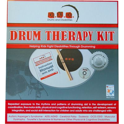 Drum therapy kit. Through the repeated exposure to the rhythms and patterns of drumming, the kit aids children and adults challenged with Autism/Asperger Syndrome, ADD/ADHD, Cerebral Palsy, Dyslexia, OCD/ODD, Muscular Dystrophy, Tourette's Syndrome, and numerous other physical and cognitive disabilities.