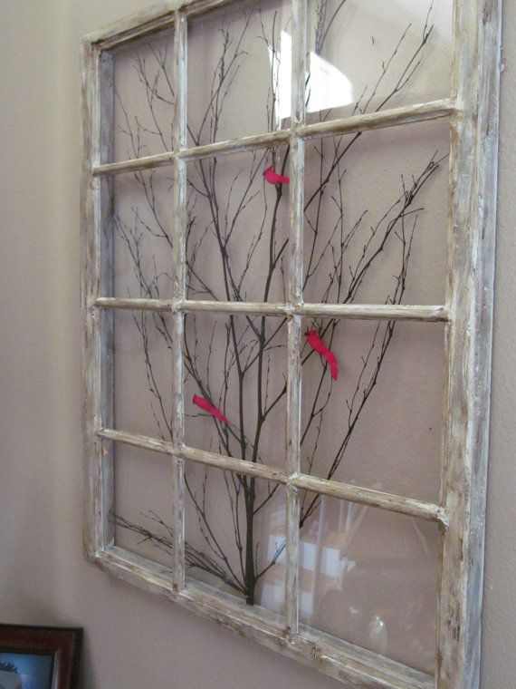 34 x 26 replica of a old window frame this is for a completed work it is made with plexiglass front and back. the branches are real and not a decal. if you want just the window or other variations please ask and i will work out a special order and price for you  this is made of new and reclaimed wood.  since I am making the window frame there is no possible lead contamination. Most old windows were used when lead was used in both the paint and the putty. so this is a safe alternative for…