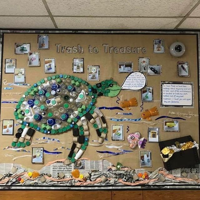 plastic pollution classroom ocean turtle chinese displays dragon toddlers class recycling play through junk library modelling learning read