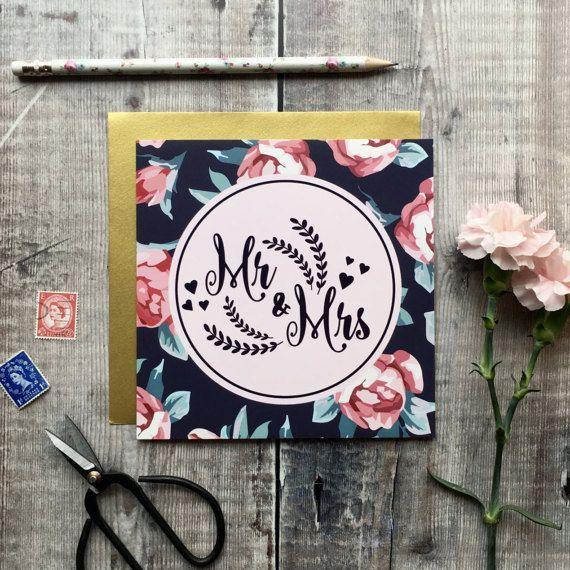 Mr & Mrs Luxury Wedding Card  Floral Card  Wedding Card