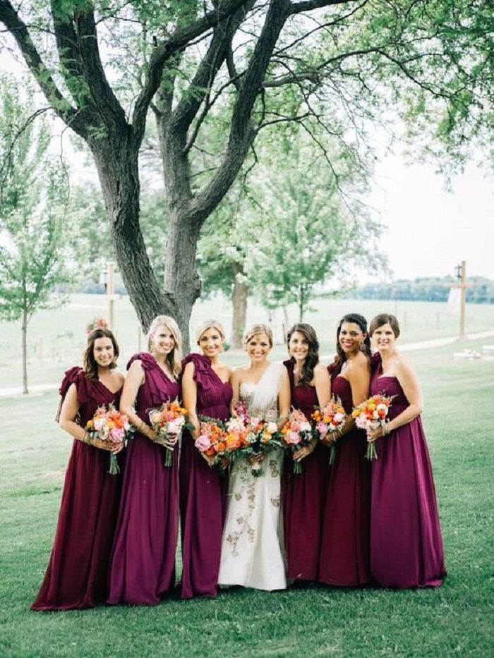 Burgundy bridesmaid dresses | fabmood.com #bridesmaid #bridesmaiddresses #burgundy #bridesmaids #fallwedding #autumnwedding