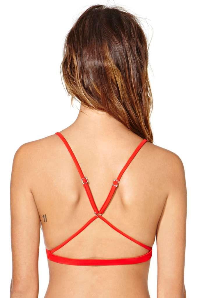 Nasty Gal Kauai Bikini Top - Red