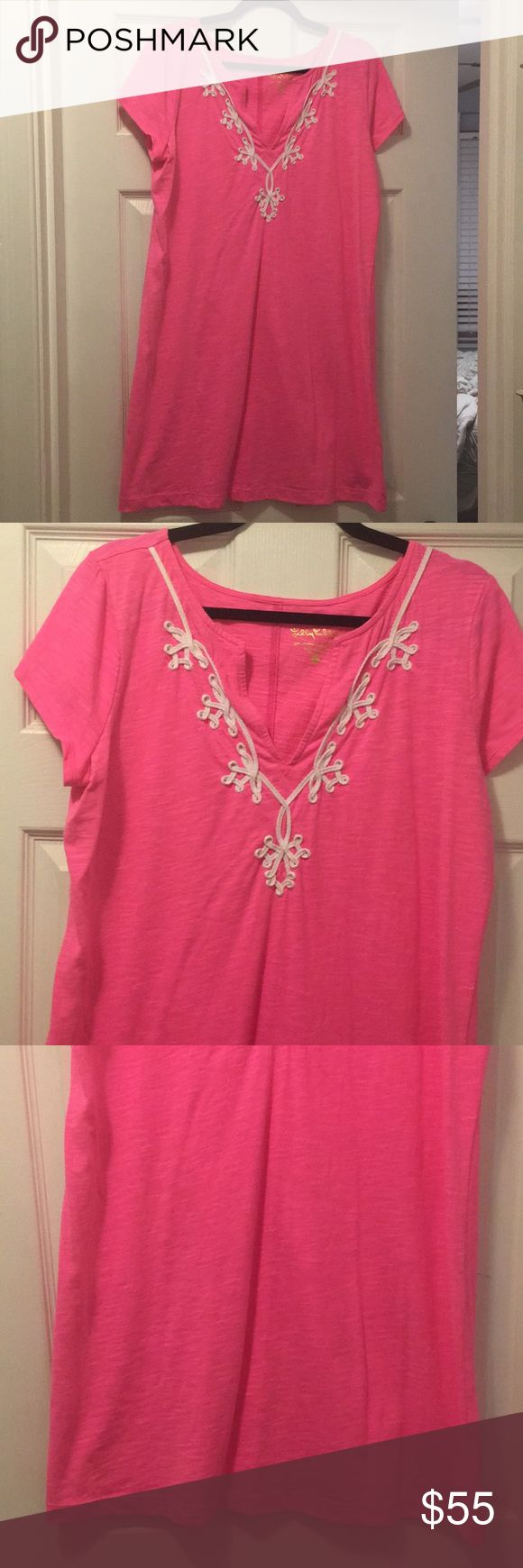 Lilly Pulitzer Neon Pink Dress Worn once! Super cute. Fits TTS. Lilly Pulitzer Dresses Mini