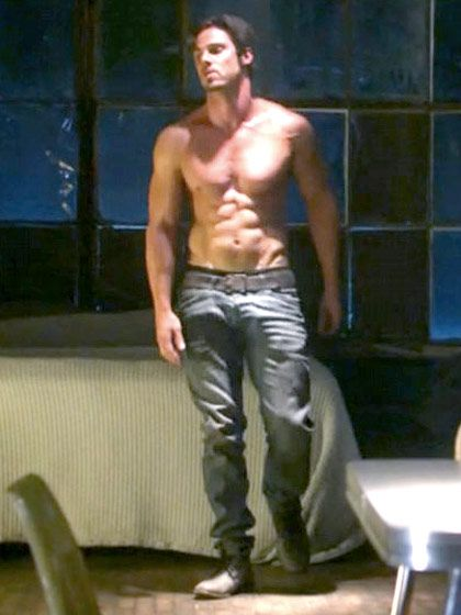A shirtless Jay Ryan from Beauty and the Beast.