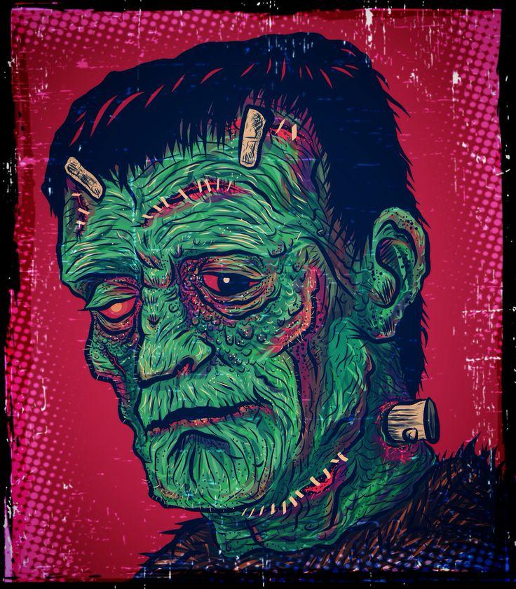 Adobe draw digital art sketchbook Frankenstein from how to draw 50 monsters by Lee J. Ames