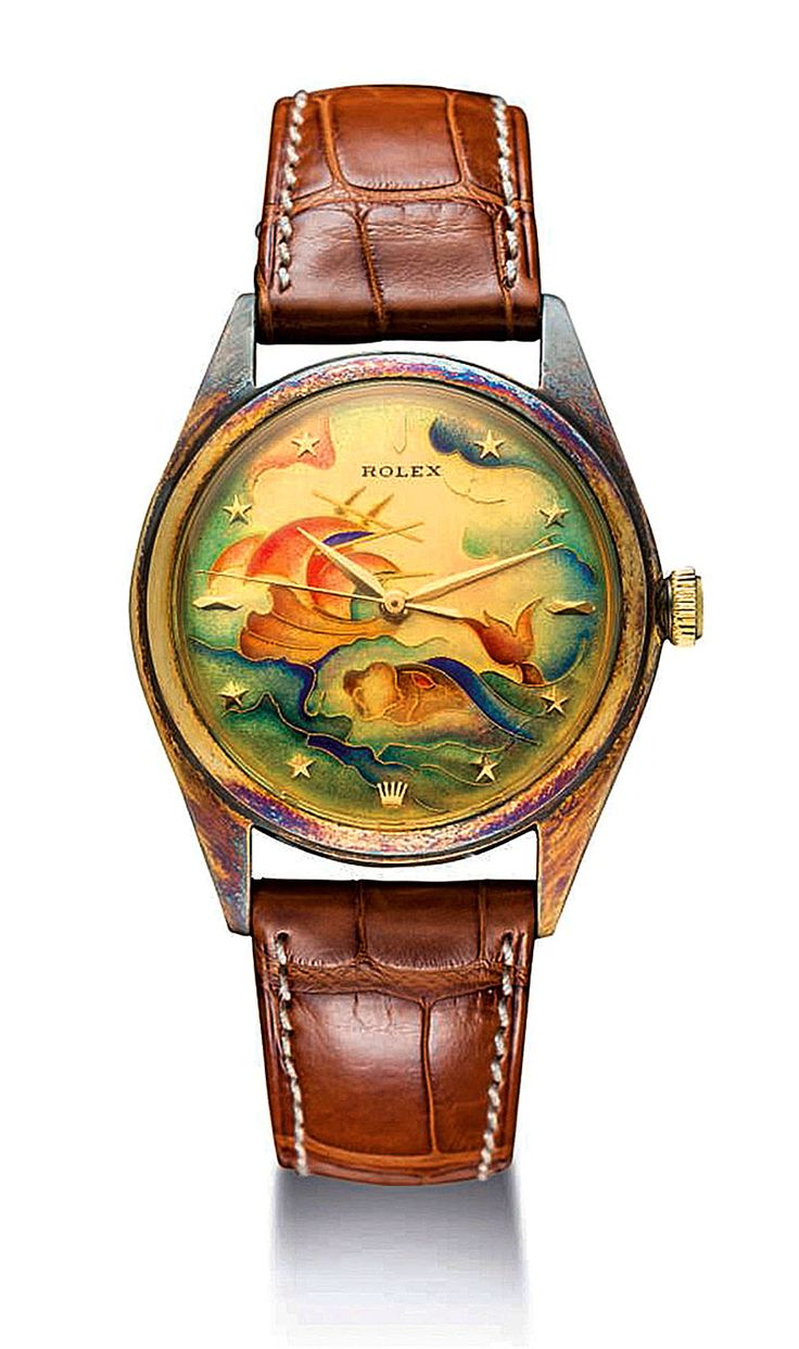 Wrist watch price in oman - An Extremely Fine Rare And Unique Gold Automatic Wristwatch With Sweep Centre Seconds Star Numerals And Cloisonn Enamel Dial