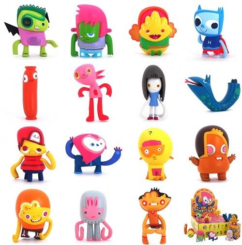 "nice character design/silhouettes--""Heroes of Burgertown"" designer toys by Jon Burgerman"