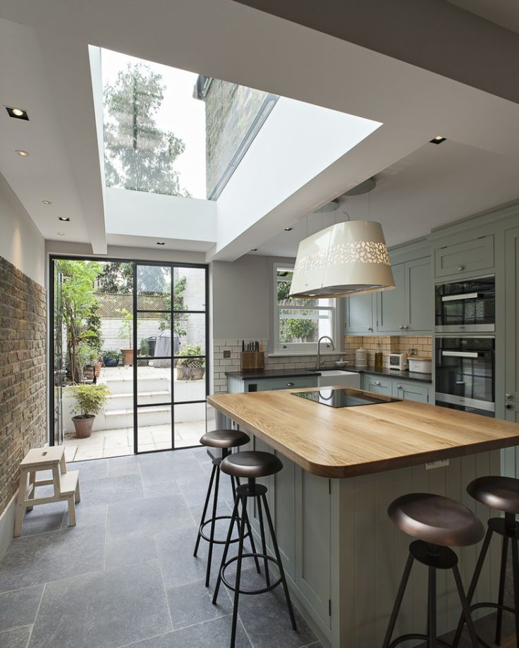 Whistler Street successfully overcomes the typical challenge of extending the closet wing of a Victorian Terrace with the introduction of a large glazed rooflight and steel framed garden doors that bring light and space into the kitchen and dining room. The previously cramped and narrow kitchen is opened up and texture and colour is added by the exposure and restoration of the brick garden wall.