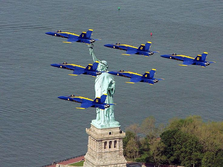 Two US Navy Blue Angels jets are seen from Liberty State Park as they flew over the Statue of Liberty.