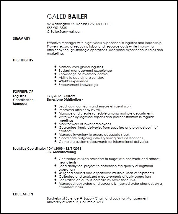 Best 25+ Standard resume format ideas on Pinterest Standard cv - logistics clerk job description