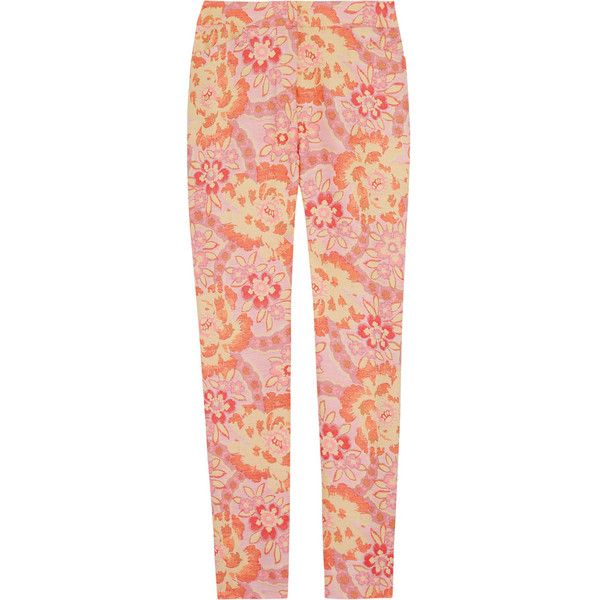 Erdem Sidney jacquard skinny pants (1.630 RON) ❤ liked on Polyvore featuring pants, bottoms, trousers, jeans, peach, high waisted skinny trousers, floral skinny pants, red pants, floral pants and neon pants